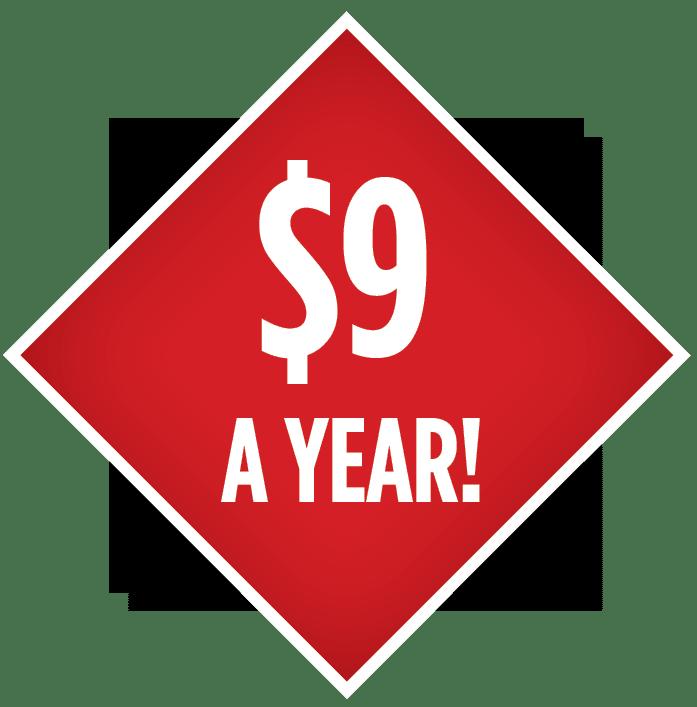 9 Dollars a year
