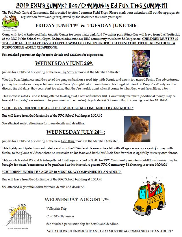 Summer Field Trips Info