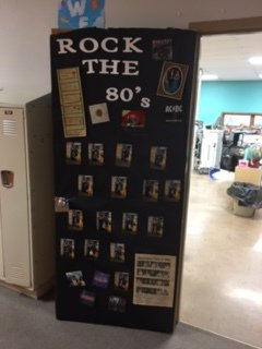 Door decorated for 1980's