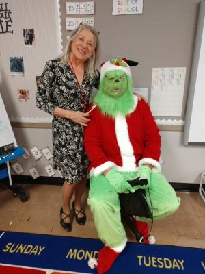 Mrs. Friesen with the Grinch